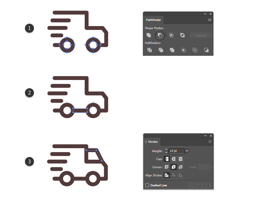 How to finalize the delivery truck icon