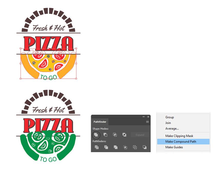 How to create a cartoon pizza compound path