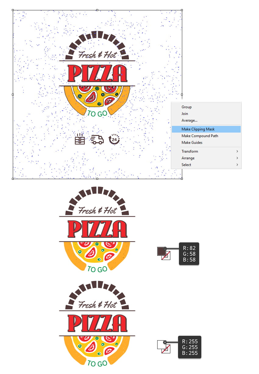How to add grain texture on the pizza logo