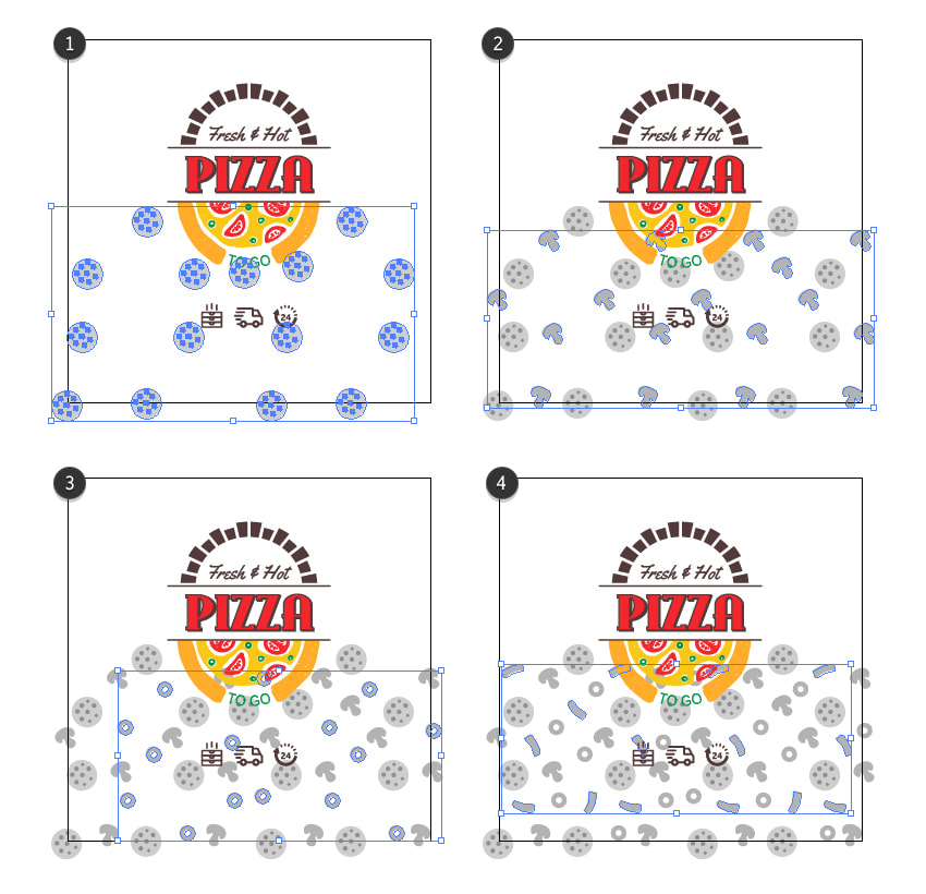 How to create a simple pizza pattern on the box packaging design