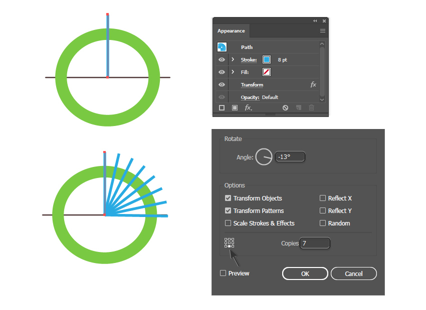 How to create circular lines with the Transform effect in Illustrator