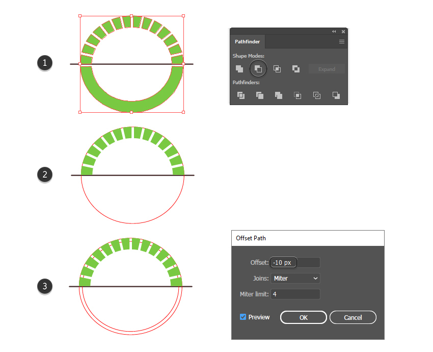 How to cut a ring shape into circular segments in Illustrator