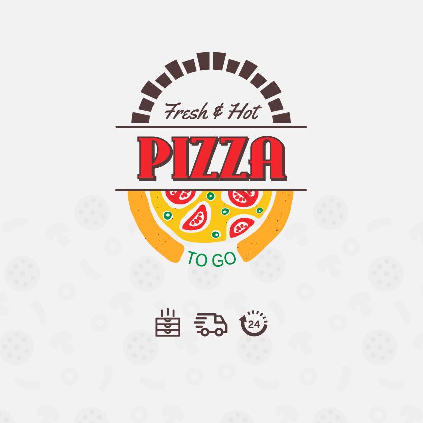custom cartoon pizza logo and pizza box design in Adobe Illustrator