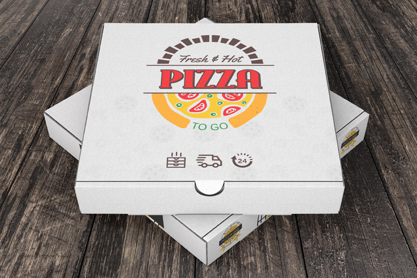 custom pizza design applied on a pizza box packaging mockup
