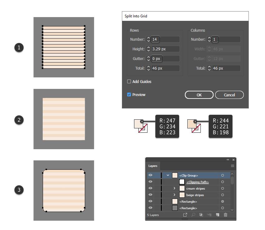 как добавить детализированные полосы на 3D детском блоке в Illustrator