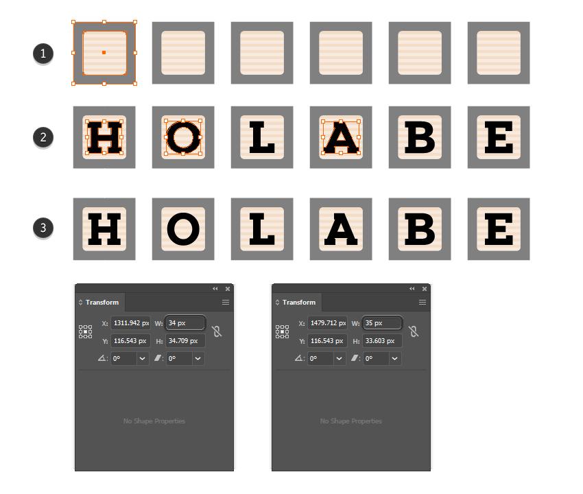 как добавить шрифт детского блока на квадратные символы в Illustrator
