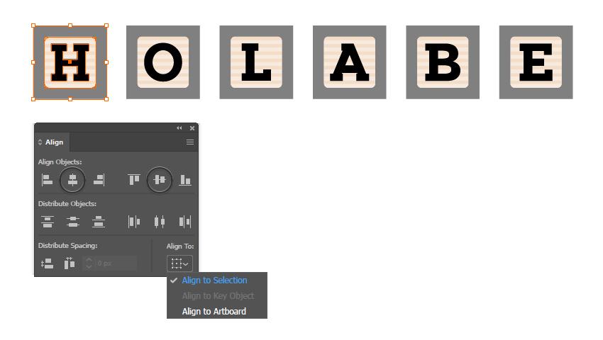 как выровнять шрифт блока по квадратным символам в Illustrator