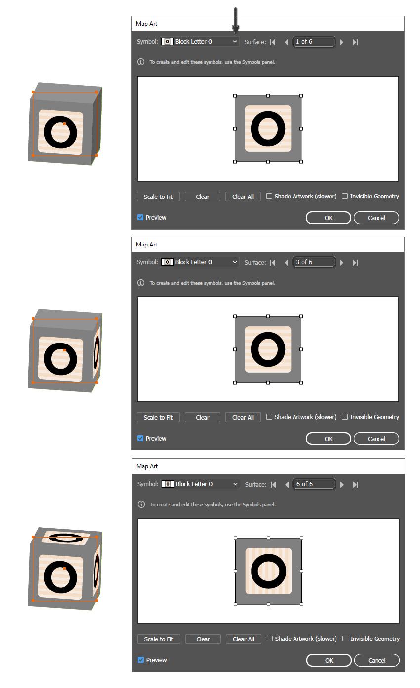 как применить символы шрифта блока к 3D блокам