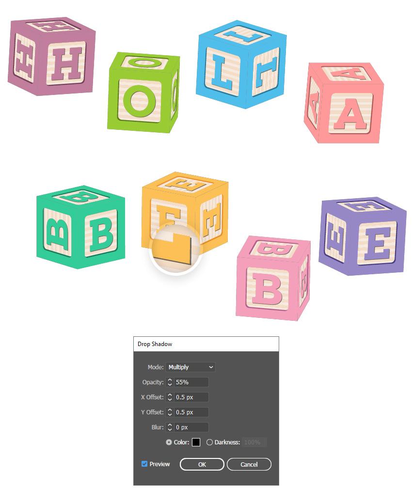 Как создать тень для всех шрифтов 3D блочной буквы