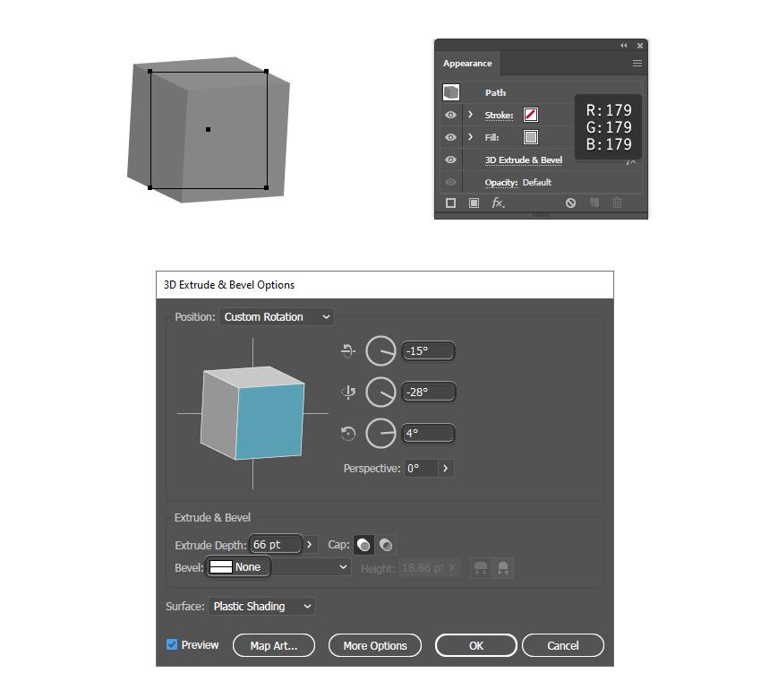 как создать простой куб с эффектом Illustrator 3D