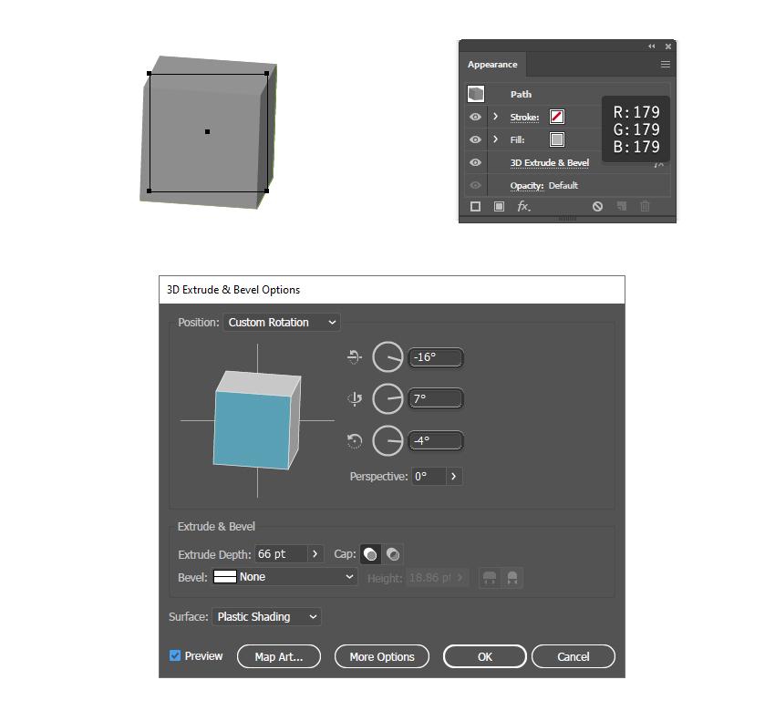как вращать 3D блок в Illustrator