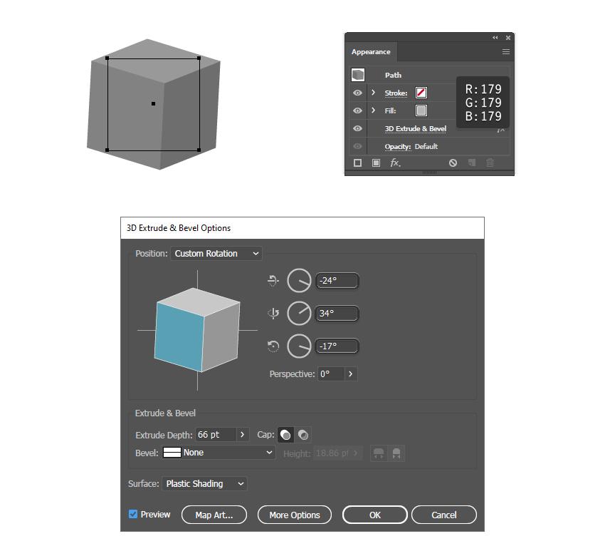 как создать третий 3D блок в Illustrator