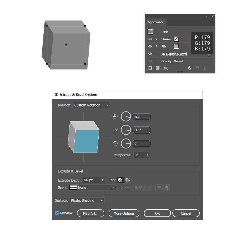 Как создать четвертый 3D-блок в Illustrator