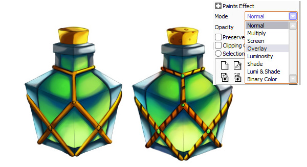 Coloring and detalization for potion