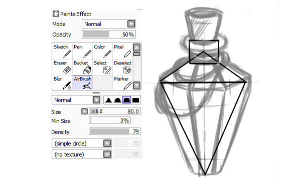 Drawing sketch for triangle potion