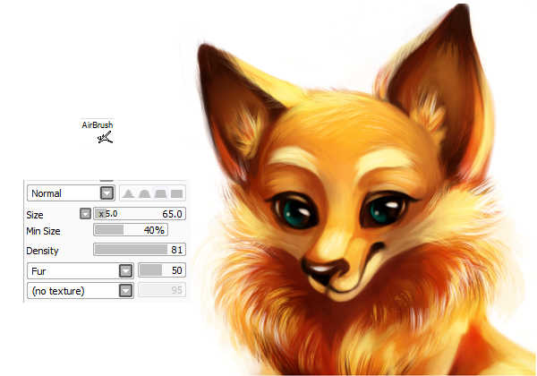 Making the fur with the fur brush