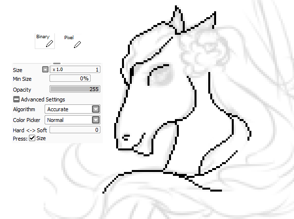 Start drawing pixel outline