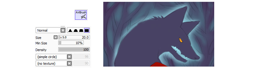 Glowing around wolf