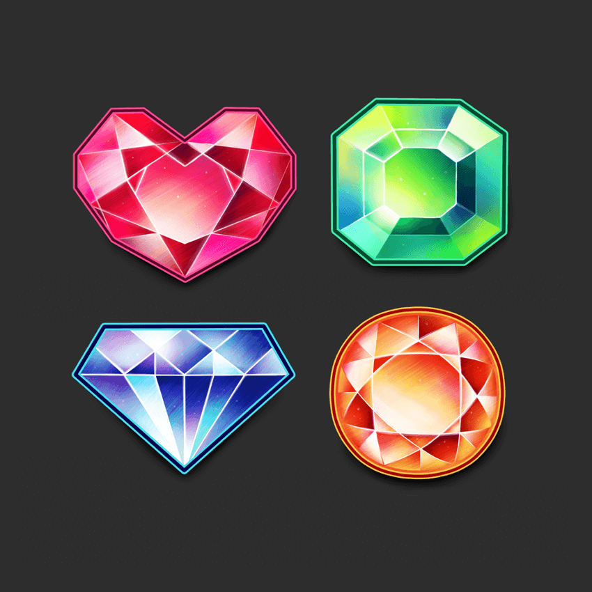 Finished set of gems