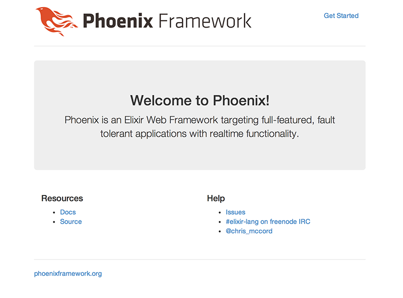 The Phoenix Framework Welcome Page