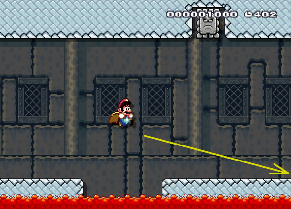 Jumping over the wide pitfall actually helps Mario avoid the Thwomp