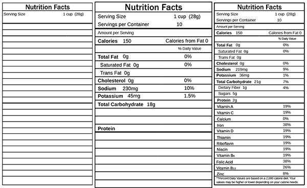 Design a vector themed cereal box in adobe illustrator for Nutrition facts table template