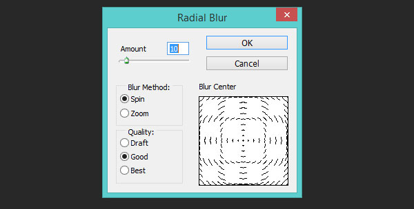 Adobe Photoshop about radial blur