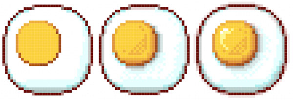 Pixel art eggs showcasing anti-aliasing