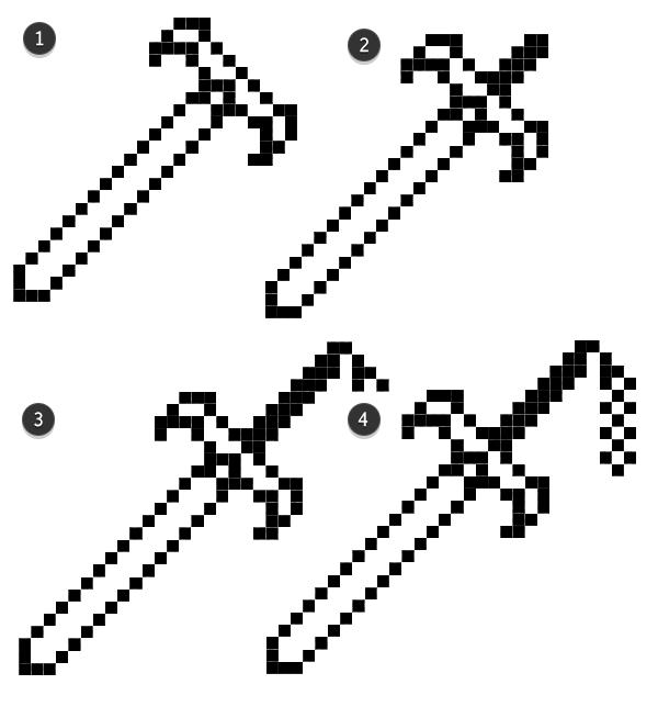 Second half of sword pixel line art