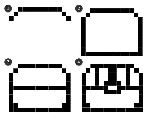 Small treasure chest pixel line art