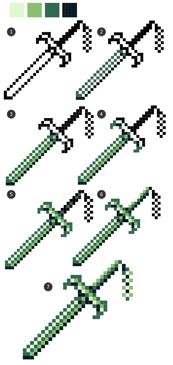 Monochrome sword rendering