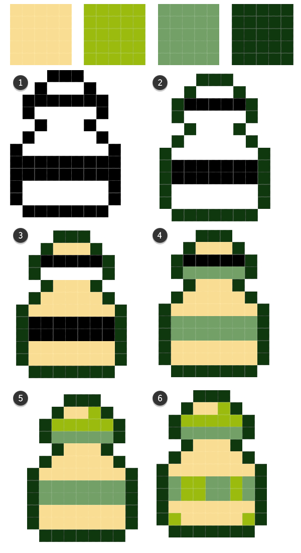 Four color palette rendering for the bottle
