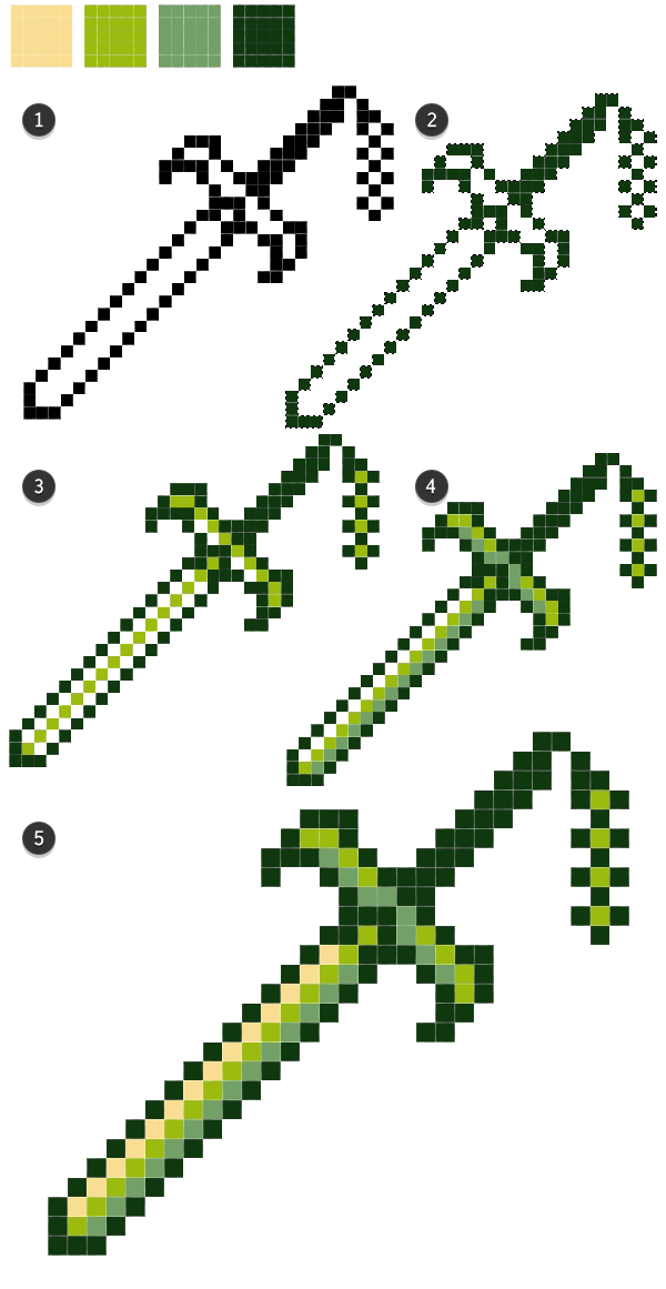 Four color palette sword rendering