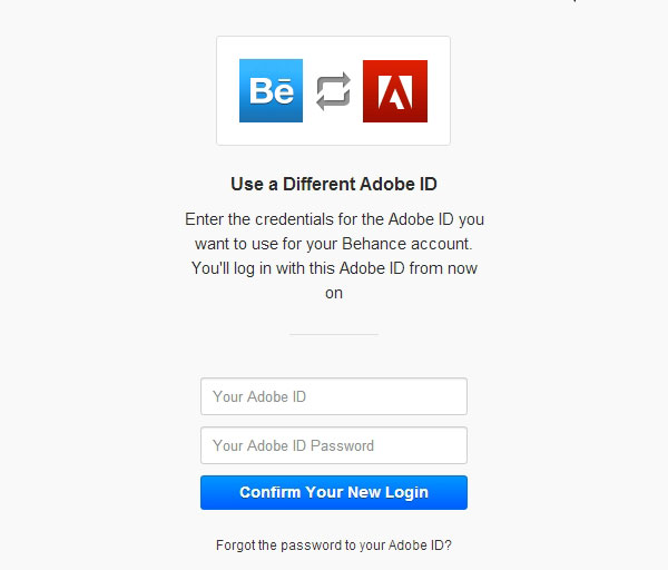 Change the Adobe CC account linked with Behance