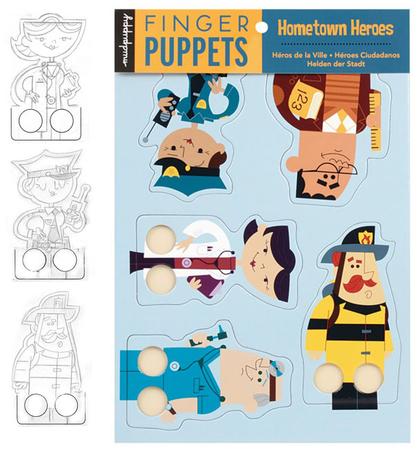 Finger puppet toy designs and vectors