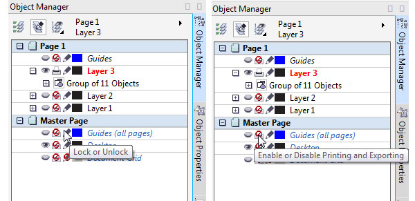 object manager properties and options