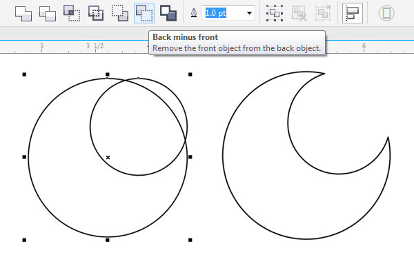 Delete the smaller circle to create a crescent moon