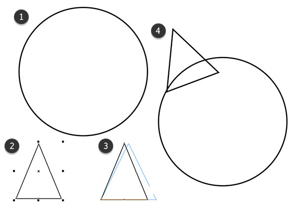 Begin drawing a bat using circles and triangles