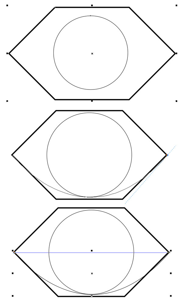 Draw a circle and a curve inside the hexagon
