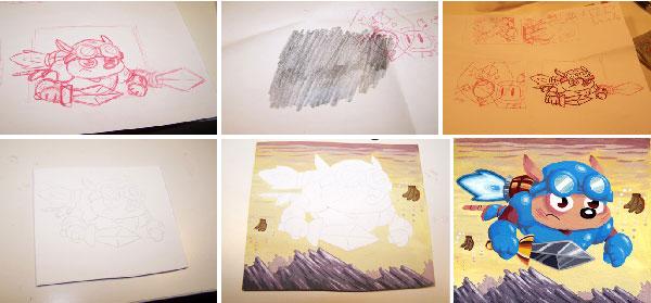 Izas painting process