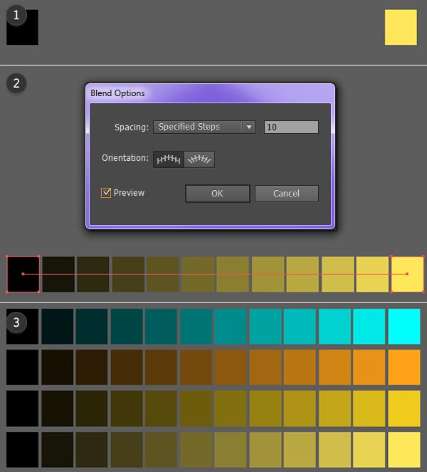 Make a Blend to create your color palette