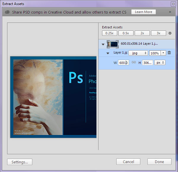 Extract Assets easily in Photoshop CC 20142