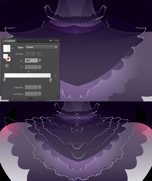 Draw ruffles with gradient shapes