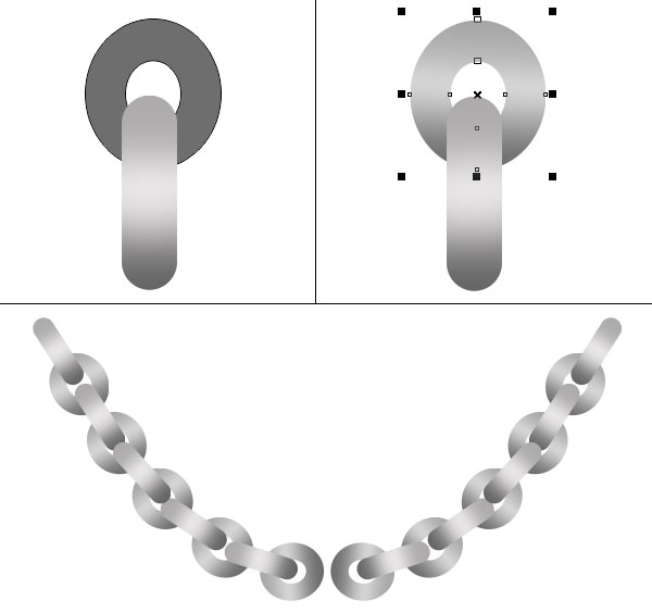 Rounded rectangles and circles form chain links