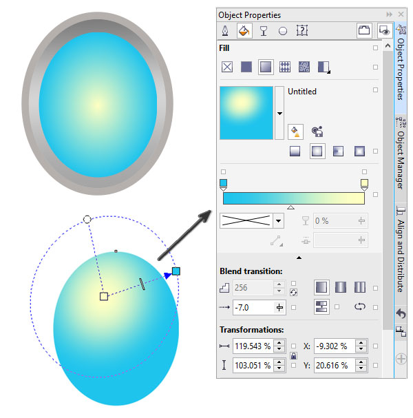 Adjust the placement of the gradients radius to change the light source