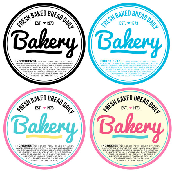 Final bakery label design set