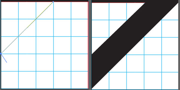 Drawing the diagonal strip shape