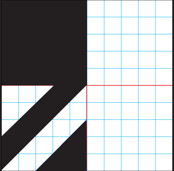 Draw a triangle in the bottom right quadrant