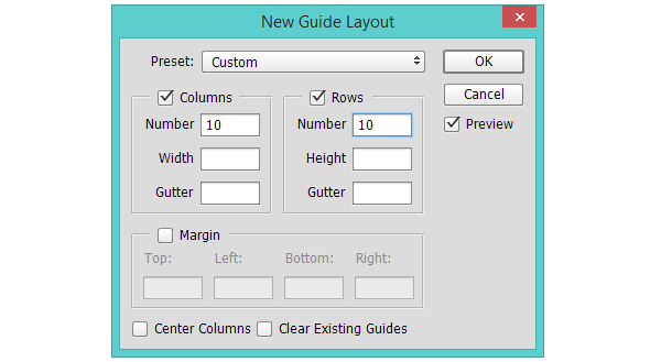 Create a layout grid for the design