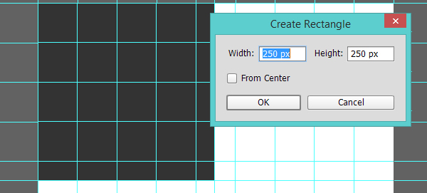 Draw a square in the top left corner of the layout grid